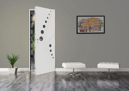 Porte blindée design blanche