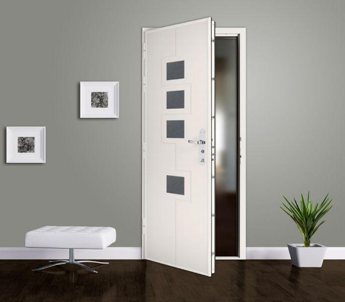 Porte blindée blanche transparente