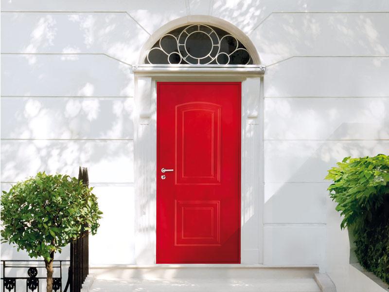 Porte d'entrée blindée rouge